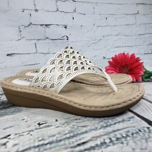 White Mountain Shoes - Cliff by White Mountain White Laser Cut Sandal 9